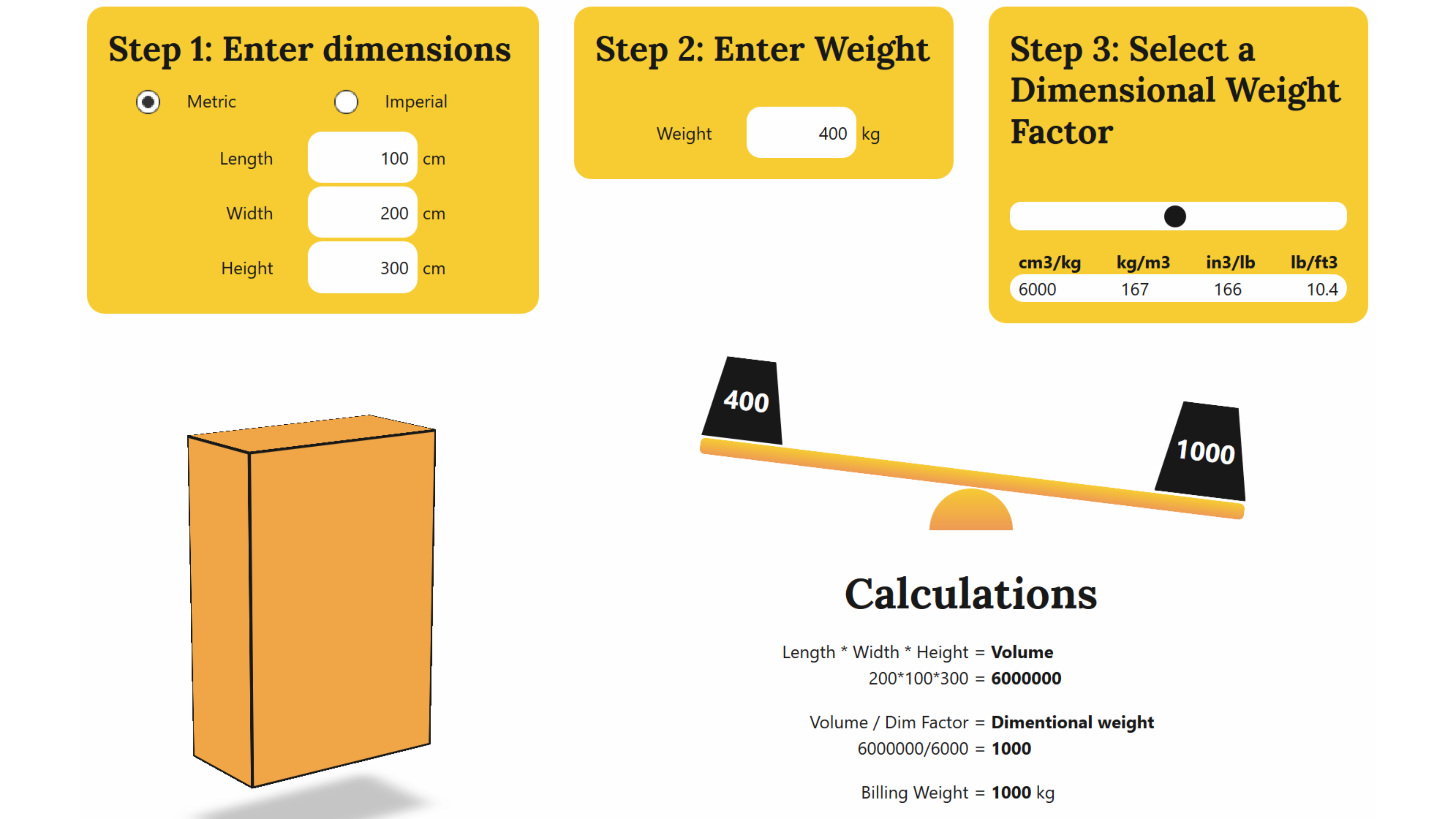 dimensional weight tool screen shot